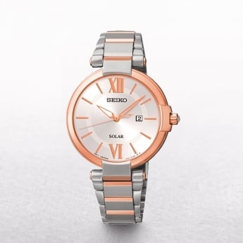 Ladies Seiko Solar Powered Rose Gold Plated & Stainless Steel