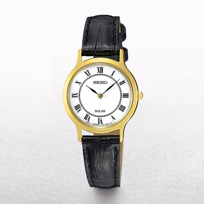 Ladies Seiko Solar Powered Yellow Gold Plated Classic