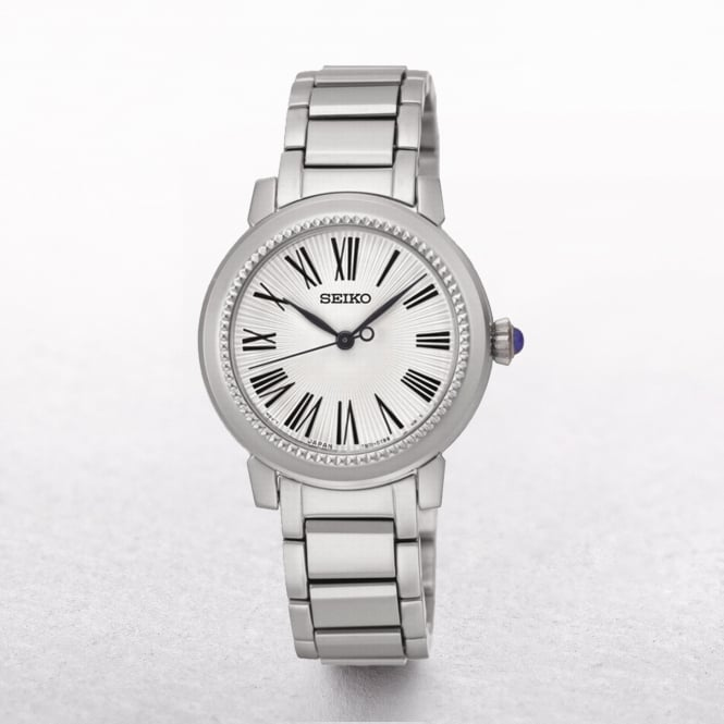 Ladies Seiko Stainless Steel Beaded Bezel