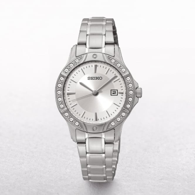 Ladies Seiko Stainless Steel Swarovski Crystal Bezel
