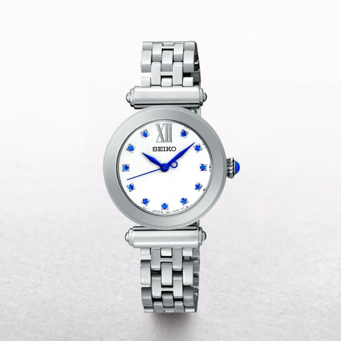 Ladies Seiko Stainless Steel With Blue Swarovski Crystal Hour Markers