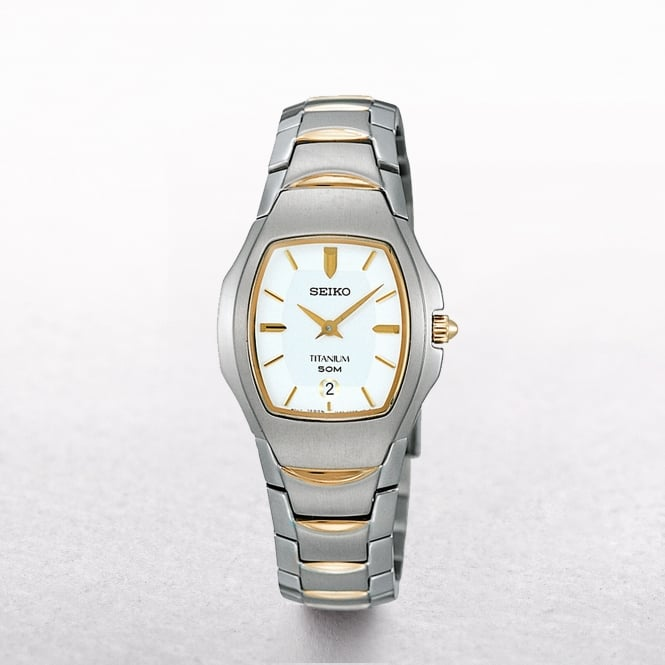 Ladies Seiko Titanium Two Tone Rectangular Dial
