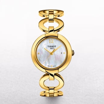 Ladies Tissot Pinky Gold Plated Mother of Pearl Dial Watch