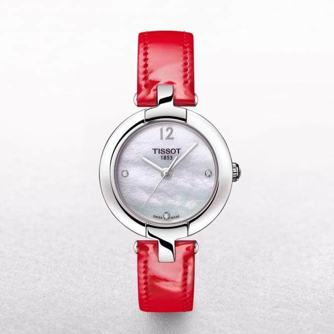 Ladies Tissot Pinky Mother of Pearl Dial Watch With A Red Strap