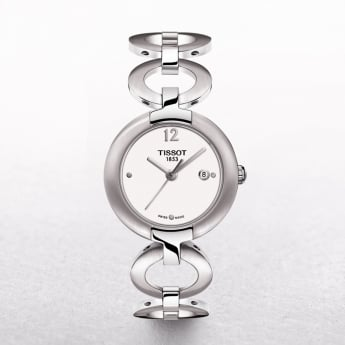 Ladies Tissot Pinky Stainless Steel White Dial Watch