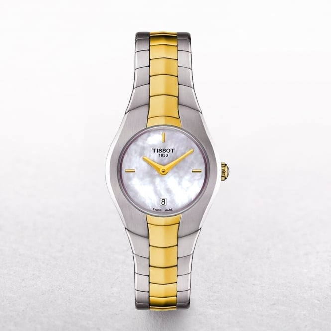Ladies Tissot-Round Mother of Pearl Dial Two Tone Watch
