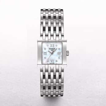 Ladies Tissot Six-T Stainless Steel Mother of Pearl Square Dial Watch