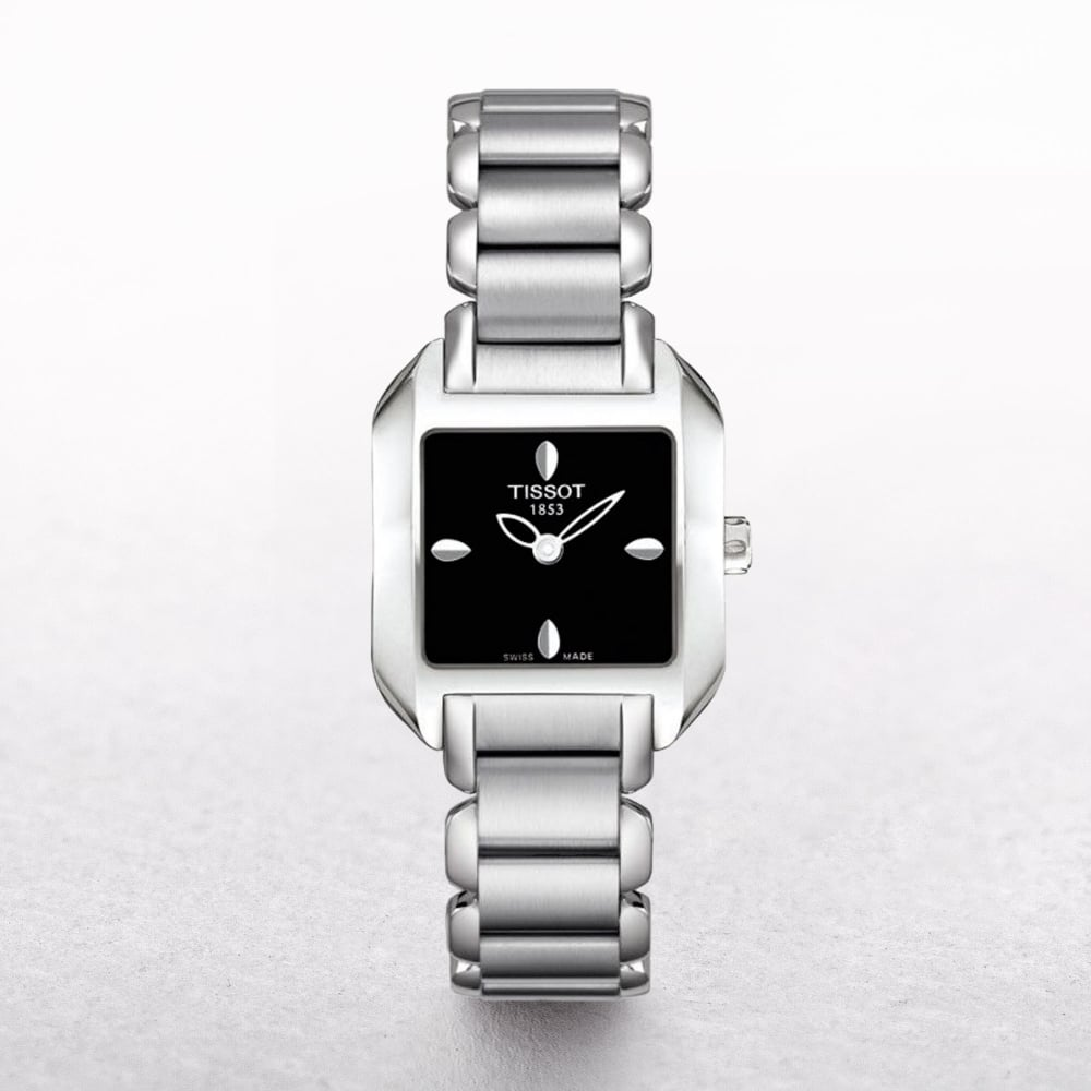Ladies Tissot T Wave Stainless Steel Square Dial
