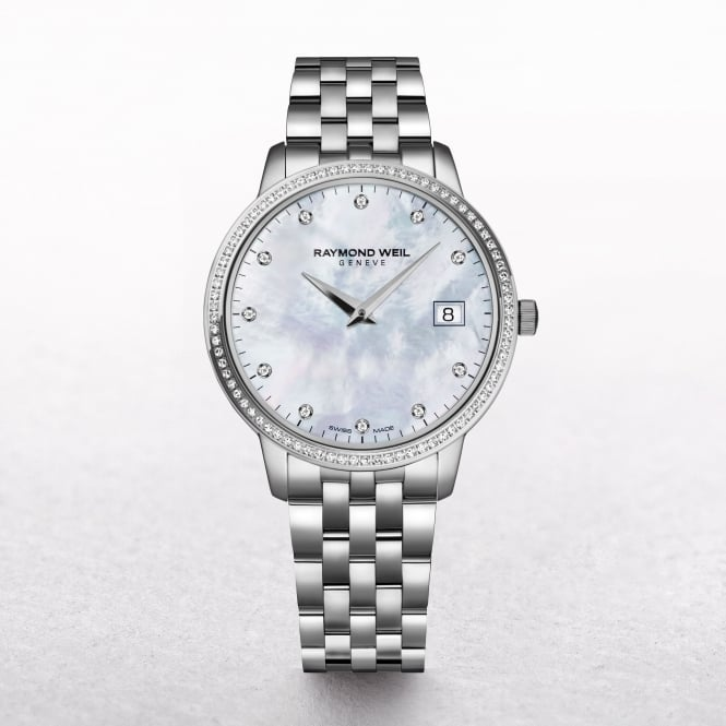 Ladies Toccata Raymond Weil Stainless Steel Mother of Pearl Dial with Diamond Bezel
