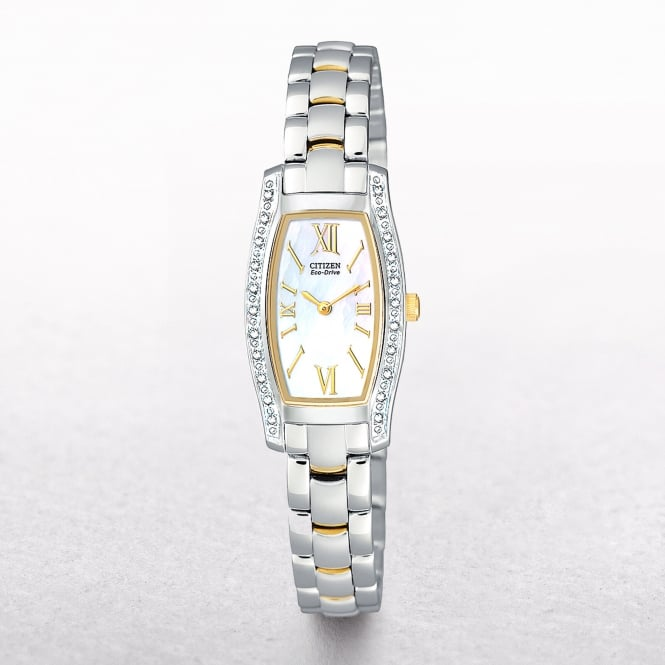 Ladies Two Tone Citizen Eco-Drive Diamond Set Dial