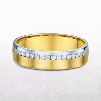 Ladies Yellow & White Gold Channel Set Diamond Wedding Band