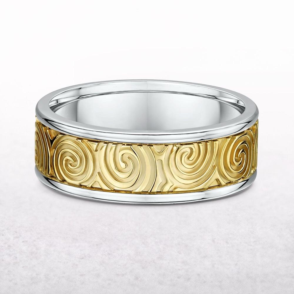 Yellow & White Gold Newgrange Spiral Design Ring