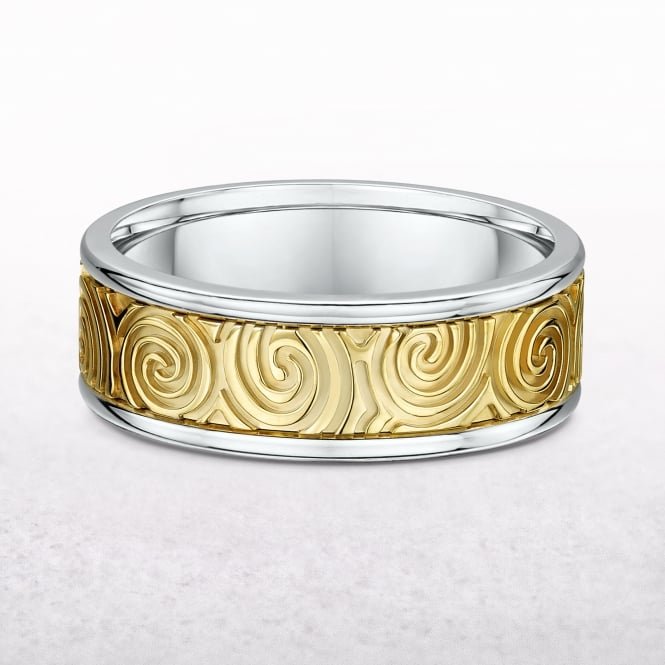 Ladies Yellow & White Gold Newgrange Spiral Design Ring