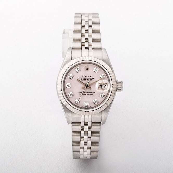 Laides Rolex Datejust with a Pink Mother-of-Pearl Diamond Dial on Jubilee Bracelet