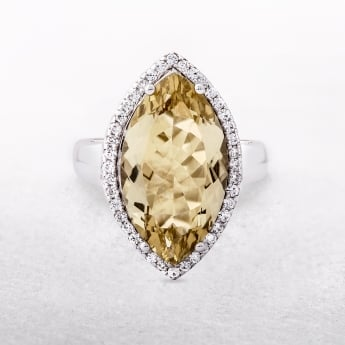 Lemon Quartz Silver Marquise Ring with Cubic Zirconia