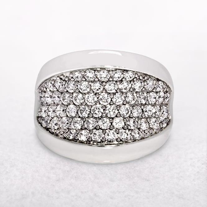 Magnificent Sterling Silver Micro Set Cubic Zirconia Ring