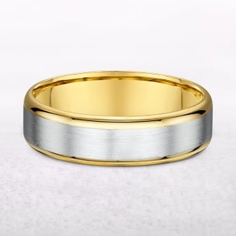 Matte & Polish Yellow Gold 5mm Gents Wedding Band