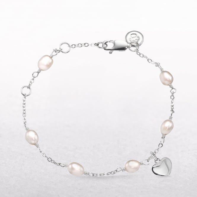 Molly Brown Pearl Station Bracelet WIth Silver Heart Charm