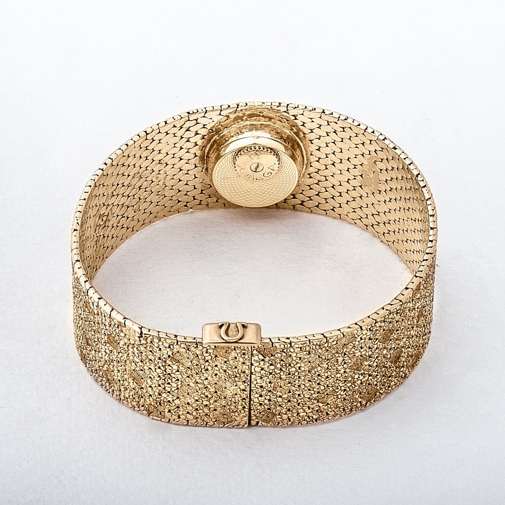 Omega 14ct Gold Textured Bangle Ladies Watch