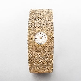 Omega 1966 Textured 14ct Gold Bangle Watch