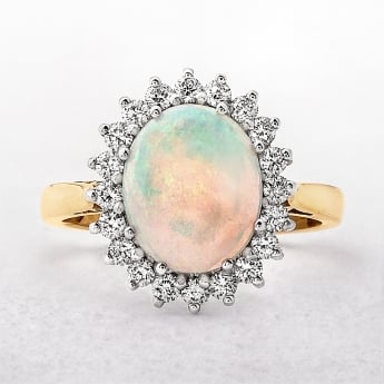 Opal & Diamond 18ct Cluster ring