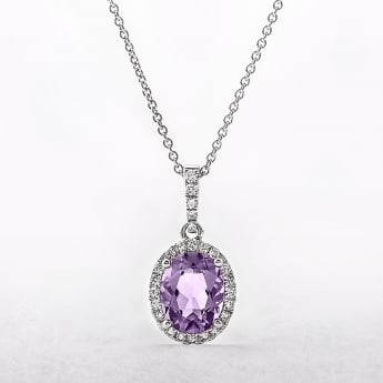 Oval Amethyst & Diamond 18ct White Gold Cluster Pendant