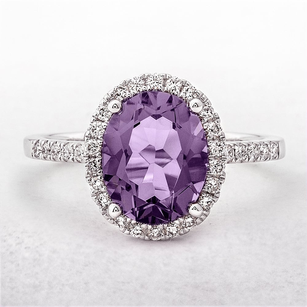 engagement diamond princess gemstone halo ring am cut purple white amethyst gold and pid rings