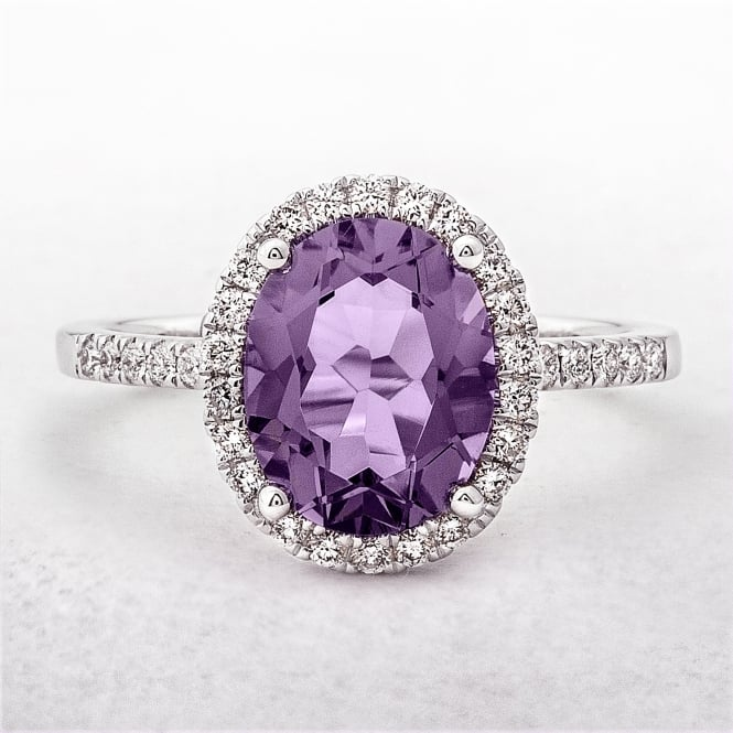 Oval Amethyst & Diamond White Gold Dress Ring