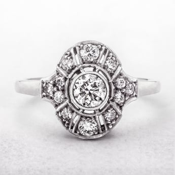 Oval Antique Diamond Art Deco Ring in White Gold