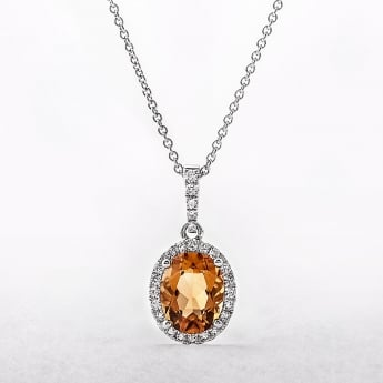 Oval Citrine Diamond Pendant in White Gold