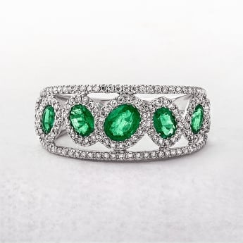 Oval Emerald & Round Diamond 18ct Row Dress Ring