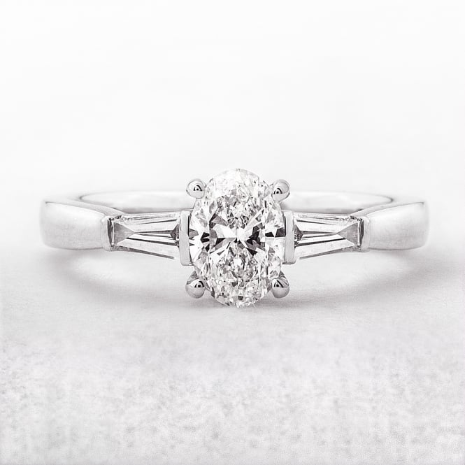 Oval Solitaire .58ct Engagement Ring in White Gold