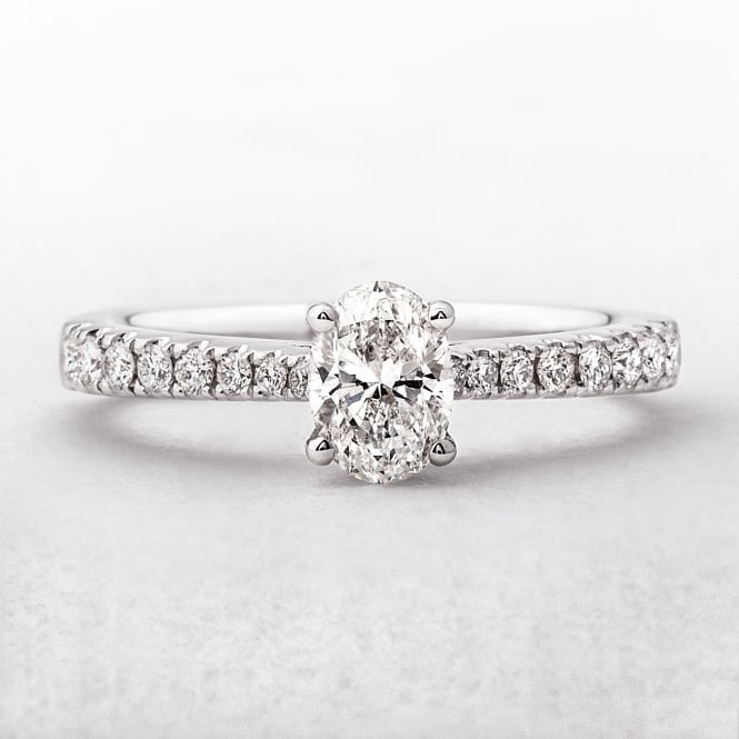 Oval Solitaire .70ct Diamond Ring in White Gold