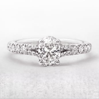 Oval Solitaire .70ct Split Band Diamond Ring