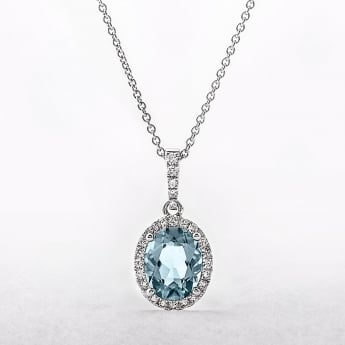 Oval Topaz & Diamond 18ct White Gold Cluster Pendant