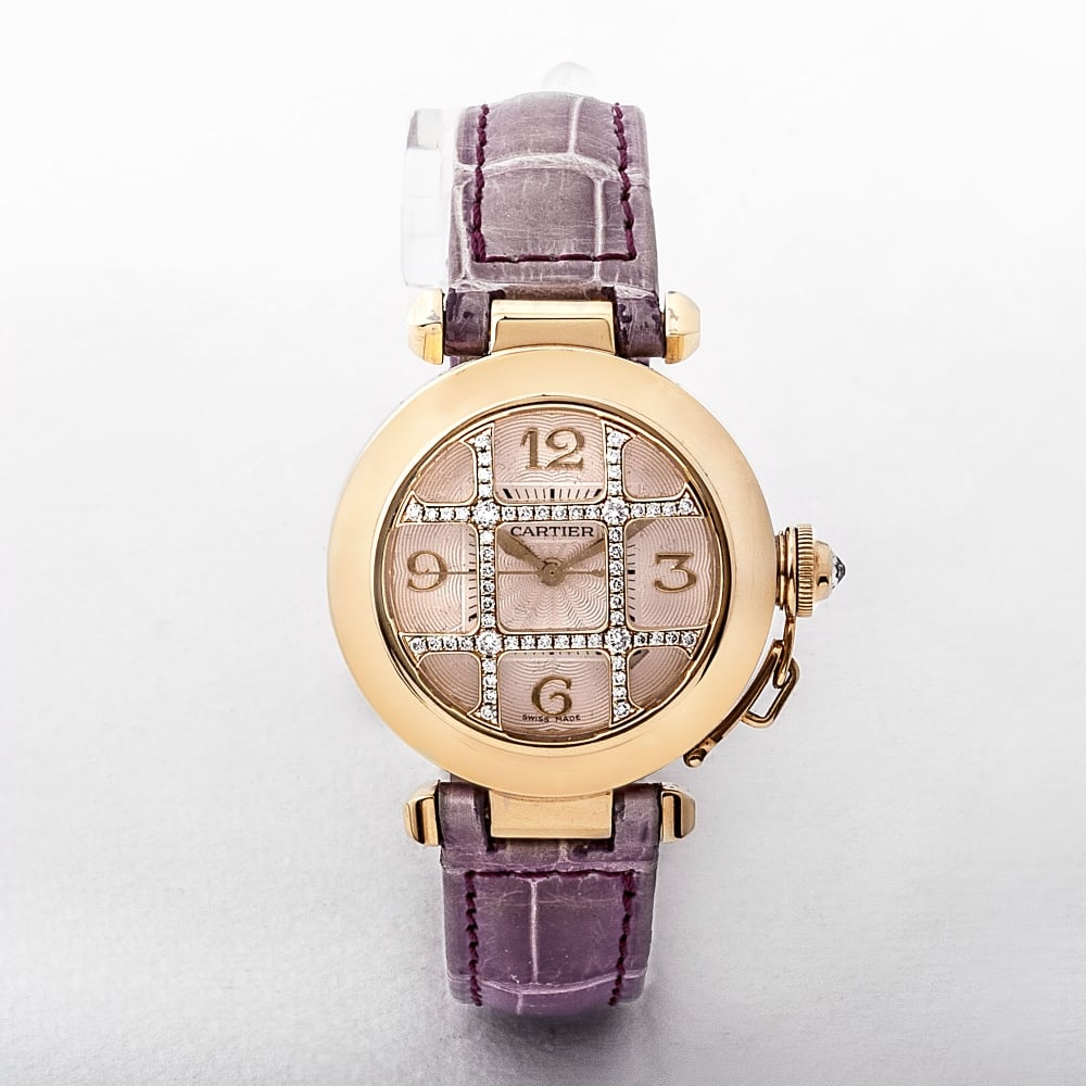 ac20f97a8d54 Cartier Ladies 18ct Gold Diamond Set Cage Dial Watch