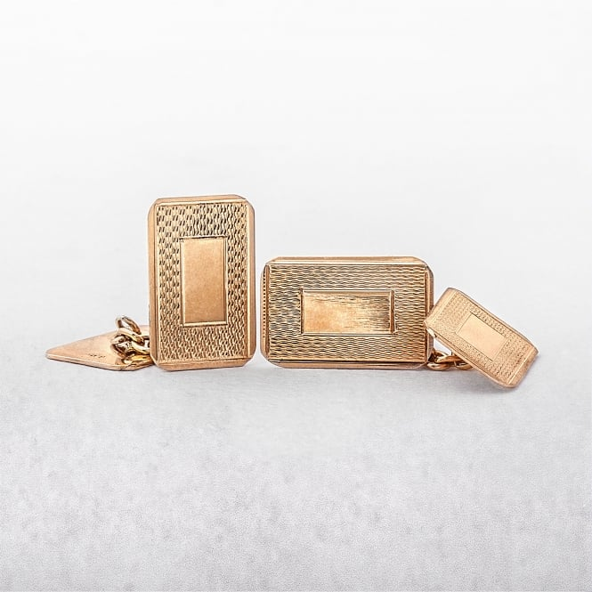 Patterned 9ct Yellow Gold Cufflinks