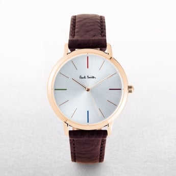Paul Smith Ma Silver Dial with Leather Strap