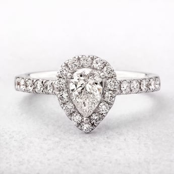 Pear Cut Diamond Halo Style Engagement Ring