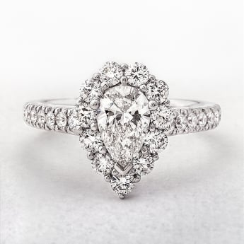 Pear Cut Halo Ring Set in White Gold. 1.52ct.