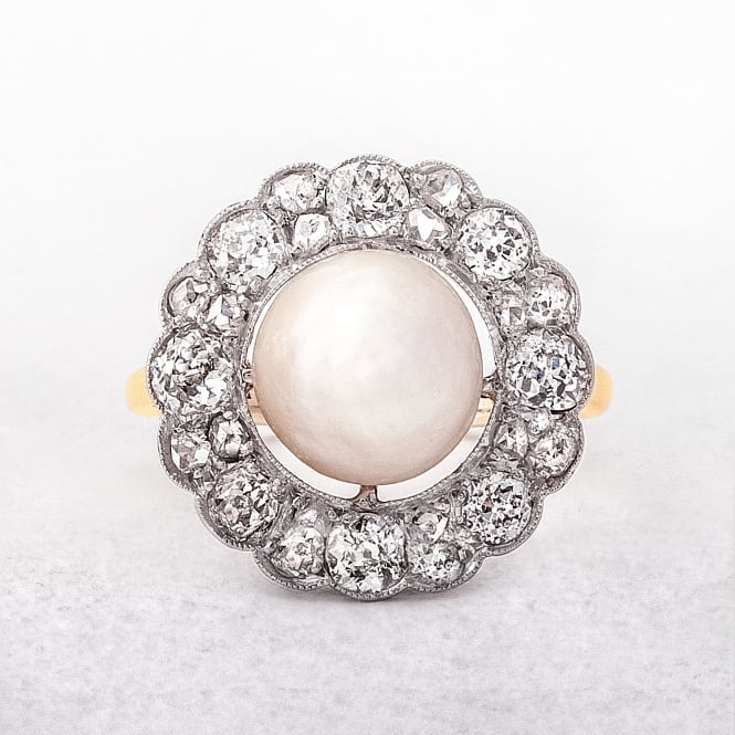 Pearl & Diamond Antique Halo Cluster Ring