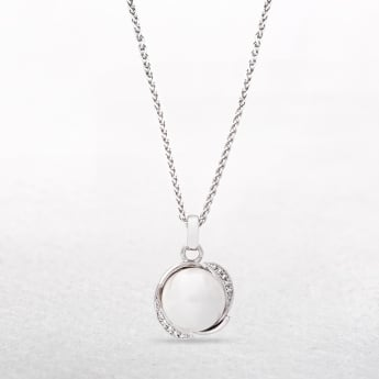 Pearl Pendant with Silver Cradle Setting & Cubic Zirconia