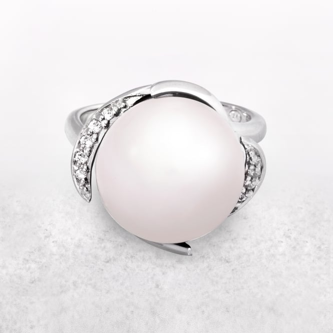 Pearl Ring with Silver Band and Cubic Zirconia Setting