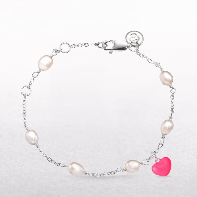 Pink Heart Charm & Pearl Station Molly Brown Bracelet
