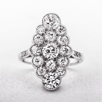 Platinum Antique Navette Diamond Cluster Ring