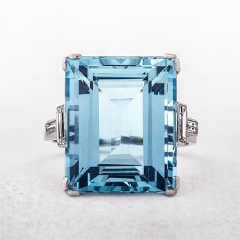 Platinum Aquamarine Dress Ring with Diamond Shoulders