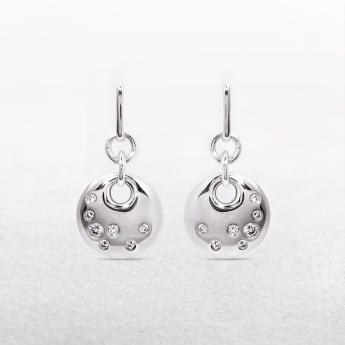 Polished Sterling Silver Hook Earrings with Cubic Zirconias