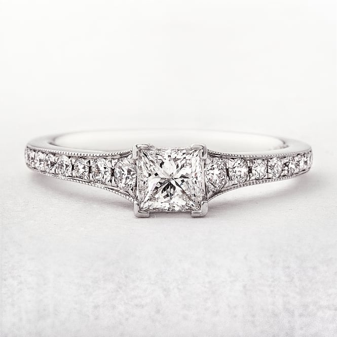 Princess Cut Solitaire Engagement Ring Set in White Gold