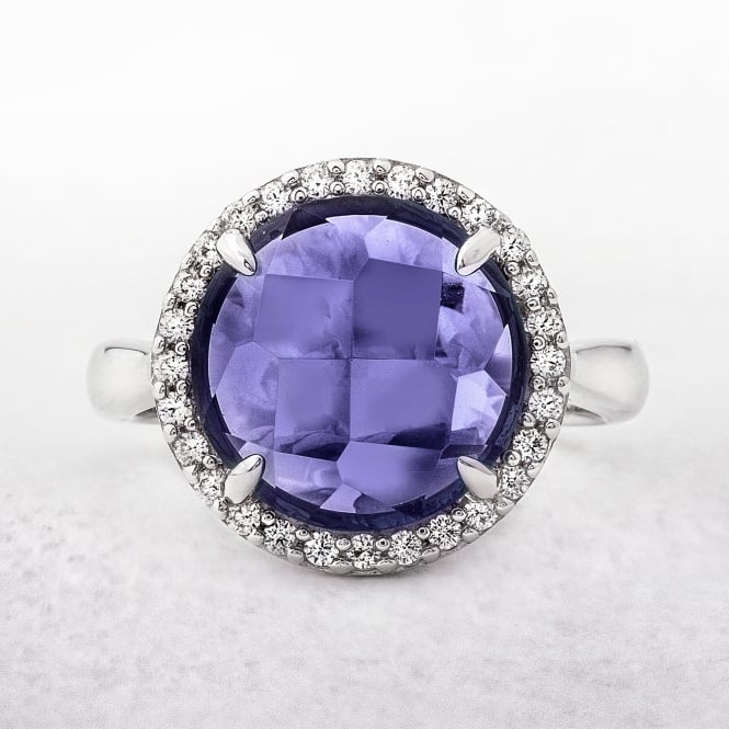 Purple Amethyst and Cubic Zirconia Sterling Silver Dress Ring