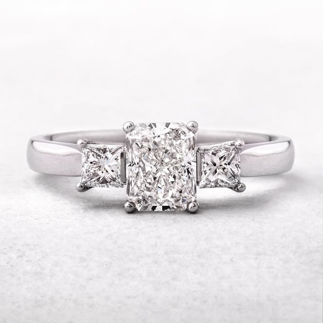 Radiant and Princess Cut Diamond Platinum Set Three Stone Ring